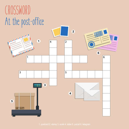 Illustration pour Easy crossword puzzle 'At the post-office', for children in elementary and middle school. Fun way to practice language comprehension and expand vocabulary. Includes answers. Vector illustration. - image libre de droit