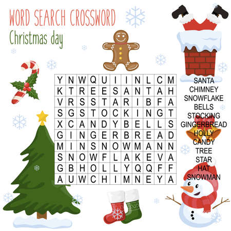 Illustration pour Easy word search crossword puzzle 'Christmas day', for children in elementary and middle school. Fun way to practice language comprehension and expand vocabulary.Includes answers. Vector illustration. - image libre de droit