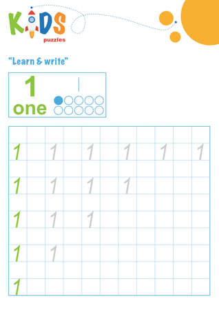 Illustration pour Learning numbers. Learn and write numbers. Easy colorful worksheet for preschool, elementary and middle school kids. - image libre de droit