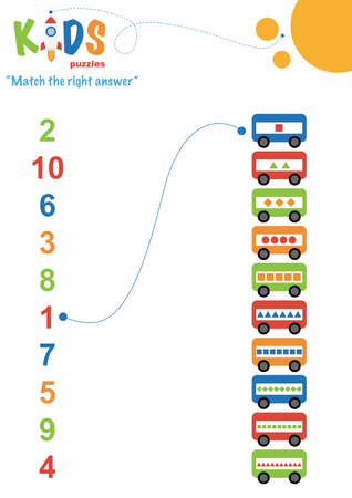 Illustration pour Learning numbers worksheet. Math worksheet match the right answer. Easy colorful worksheet for preschool, elementary and middle school kids. - image libre de droit