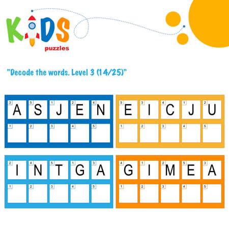 Illustration pour Decode the 5-letter words. Worksheet practice for preschool, elementary and middle school kids. Fun logic puzzle activity sheet. - image libre de droit