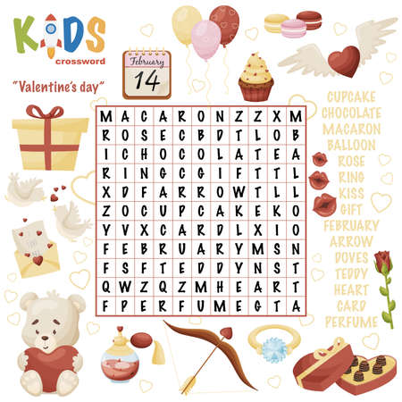 Illustration pour Easy word search crossword puzzle Valentine's day, for children in elementary, primary and middle school. Fun way to practice language comprehension and expand vocabulary. Includes answers. - image libre de droit