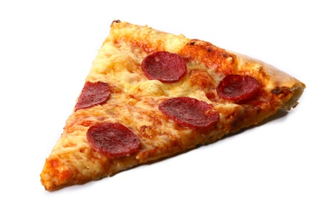 a part of salami pizza with cheese