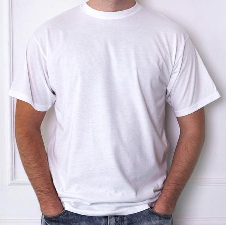 Fashion, dress. Man in a white t-shirt