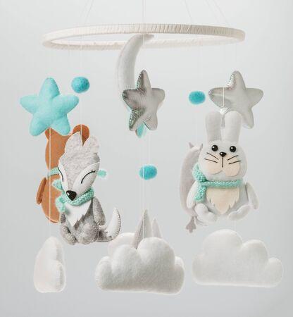 Photo pour Colorful and eco-friendly children's mobile from felt for children. - image libre de droit