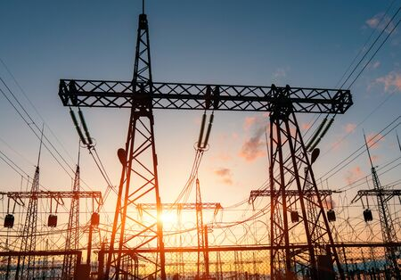 Photo for High-voltage power lines. Distribution electric substation with power lines and transformers. - Royalty Free Image