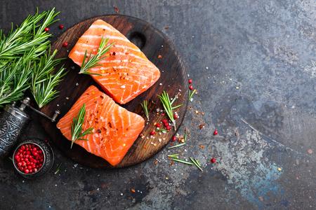 Foto de Salmon. Fresh salmon fish. Raw salmon fish fillet - Imagen libre de derechos