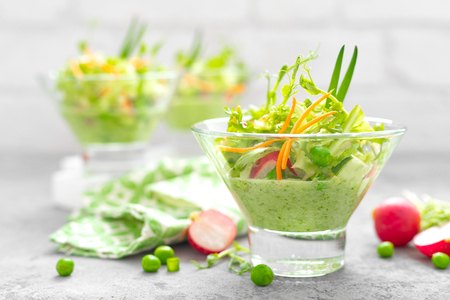 Photo for Fresh vegan vegetable salad with carrot, lettuce, green peas, radish, sprouts and cucumber smoothie - Royalty Free Image