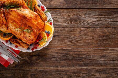 Photo pour Christmas turkey. Traditional festive food for Christmas or Thanksgiving - image libre de droit