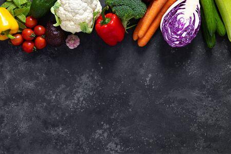 Foto für Healthy food, fresh raw organic vegetables, clean eating, vegetarian food concept background, top view - Lizenzfreies Bild