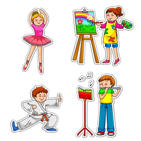 Children in different enrichment classes practicing their hobbies