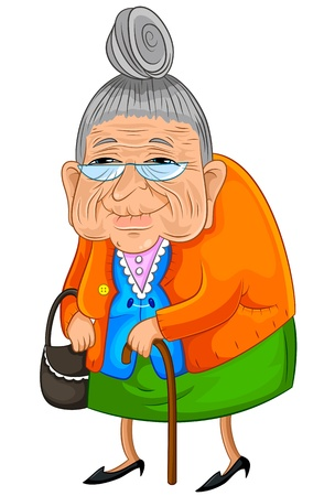 Illustration pour Old lady walking slowly but happily - image libre de droit