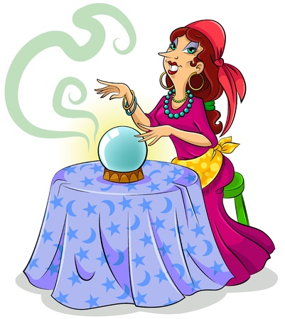 Cartoon fortune teller with her crystal ball
