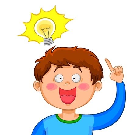 Illustration for Boy coming up with a good idea - Royalty Free Image
