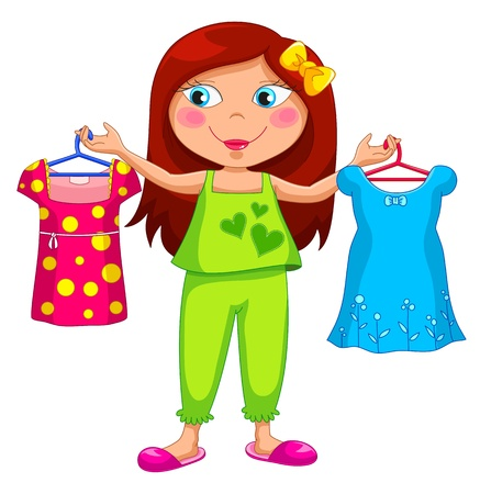 Illustration for girl holding different clothes  - Royalty Free Image