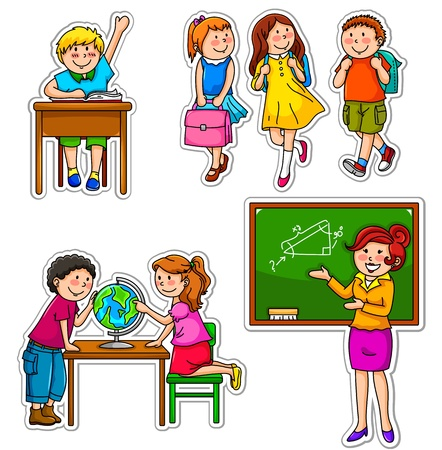 Illustration for Set of children and teacher at school - Royalty Free Image