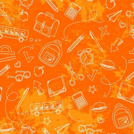 Foto de Seamless pattern with grungy texture and school doodles - Imagen libre de derechos