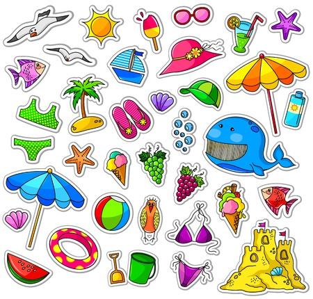 Illustration pour Big collection of summer icons - image libre de droit