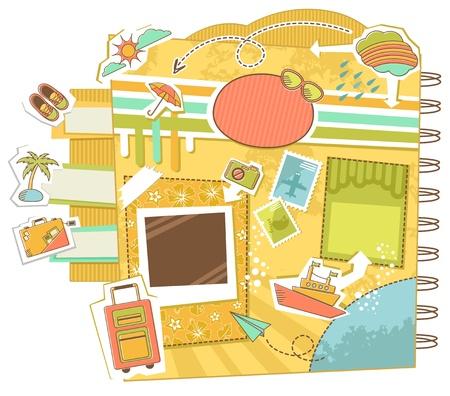 Illustration pour Set of design elements and icons related to travel - image libre de droit