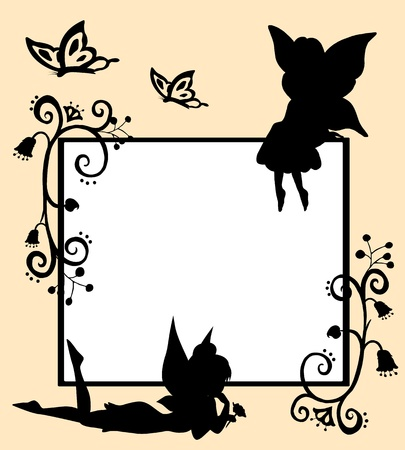 Frame with silhouettes of fairies, butterflies and flowers