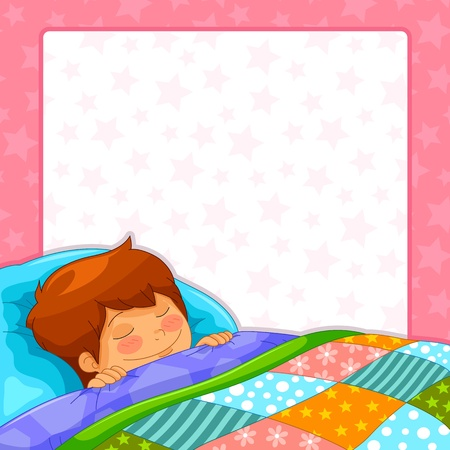 boy sleeping over starry background with copy space