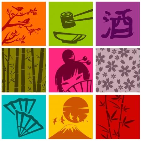 Illustration pour set of elements from Japanese culture - image libre de droit