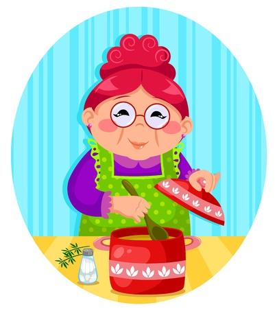 Vektor für happy woman cooking soup - Lizenzfreies Bild