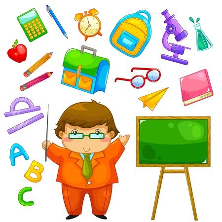 Illustration pour cartoon teacher and items related to school - image libre de droit