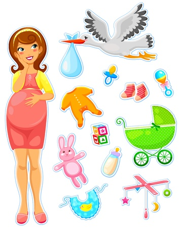 Foto de pregnant woman with a collection of items related to babies - Imagen libre de derechos