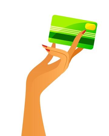 Illustration pour woman s hand holding a credit card - image libre de droit