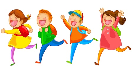 Illustration for school kids running happily - Royalty Free Image