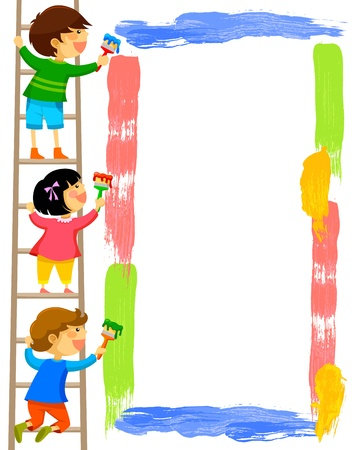 kids standing on a ladder and painting a colorful frame