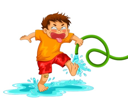 Illustration for little mischievous boy playing with the water hose - Royalty Free Image