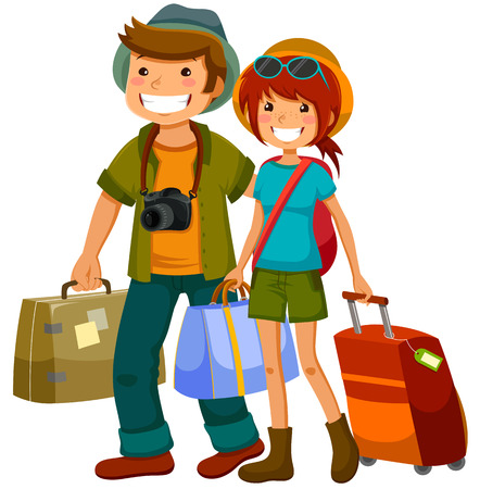 Photo for man and woman travelling together - Royalty Free Image