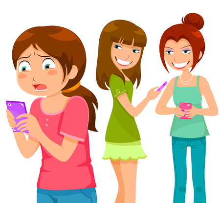 Illustration pour girl being bullying by her peers through mobile  phone - image libre de droit