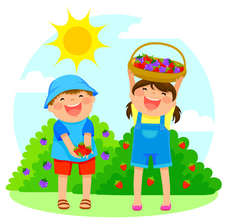 happy kids collecting fruit
