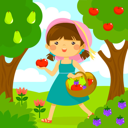 cute little girl picking fruit from the trees
