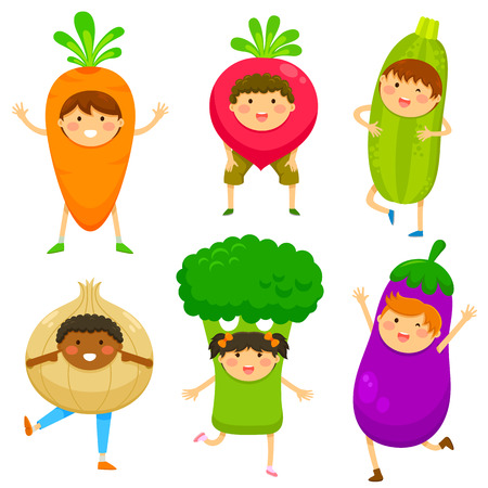 Foto de children dressed like vegetables - Imagen libre de derechos