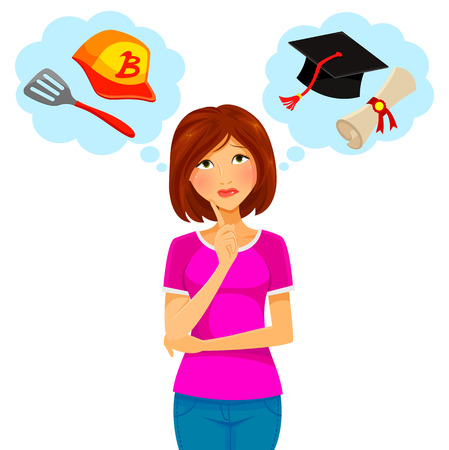 Illustration pour worried woman thinking about college and part time job - image libre de droit