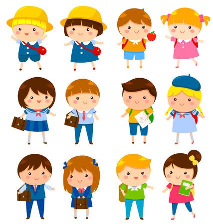 Foto de school kids of different ages with and without school uniforms - Imagen libre de derechos