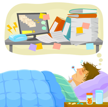 Illustration pour sick man lying in bed and thinking about all the work that piles up on his desk - image libre de droit