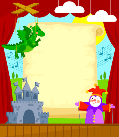 Illustration for Puppet theater with blank scroll for caption. Each element is grouped separately for easy editing. - Royalty Free Image