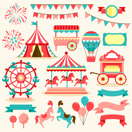 collection of elements related to carnival and circus