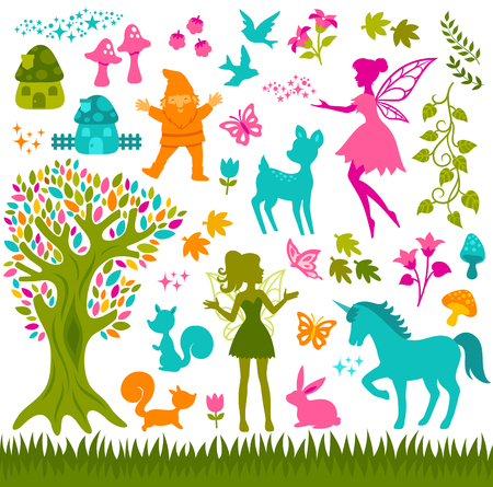 Illustration pour colorful silhouettes related to forest and fairytales - image libre de droit