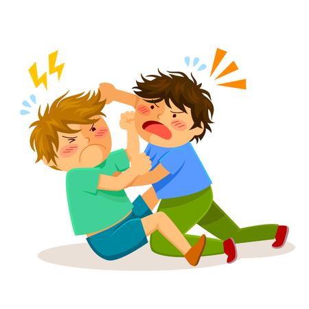Illustration pour two boys hitting each other on a fight - image libre de droit