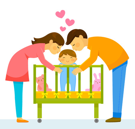 Illustration pour mother and father kissing their baby - image libre de droit