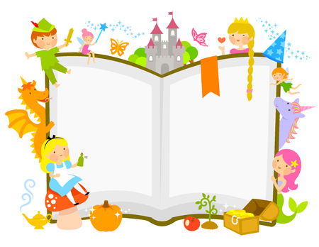 Illustration for characters of fairytales around an open book - Royalty Free Image
