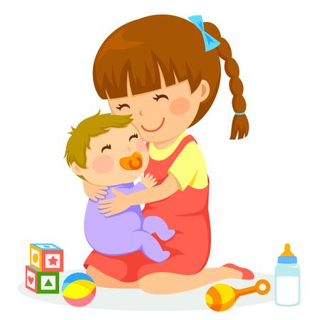 Illustration for little girl hugging a baby - Royalty Free Image