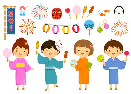 Illustration pour Set for summer festival in Japan with cute kids and related items. - image libre de droit