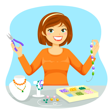 Illustration pour Young woman making jewelry from beads - image libre de droit